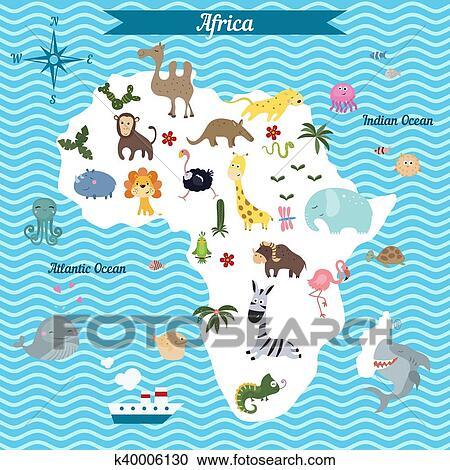 Clipart Of Cartoon Map Of Africa Continent Wit K40006130 Search