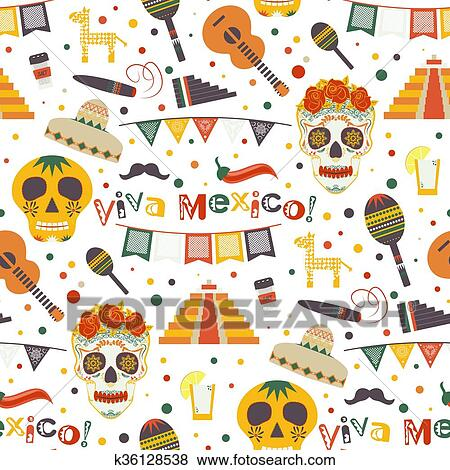 Clip Art of Cinco de Mayo vector seamless pattern with traditional ... 392d67d2510