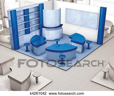 Exhibition Stand Drawing : Corner stand exhibition blue drawing k4261042 fotosearch