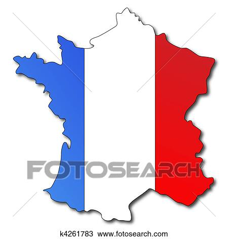 Map Of France Drawing.French Flag On A Map Of France Drawing