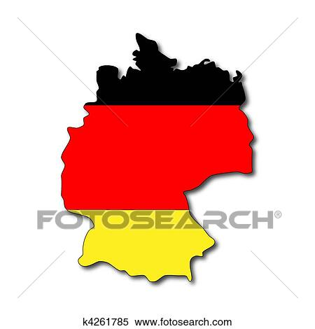 stock illustration of german flag on a map of germany k4261785 rh fotosearch com