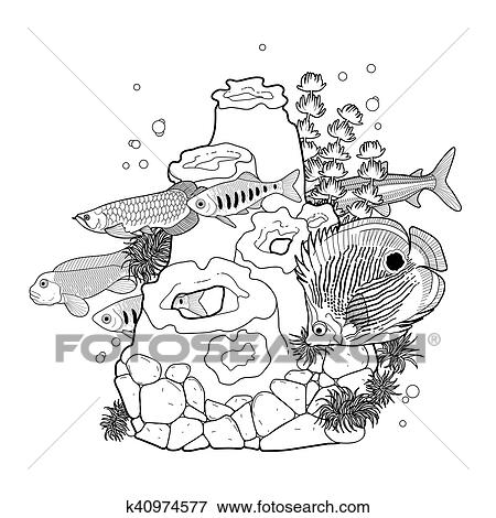 Clip Art Of Graphic Aquarium Fish With Coral Reef K40974577 Search