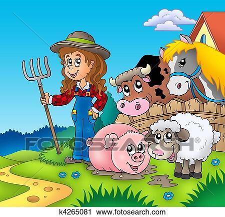 Clipart Paese Ragazza Con Animali Fattoria K4265081 Cerca