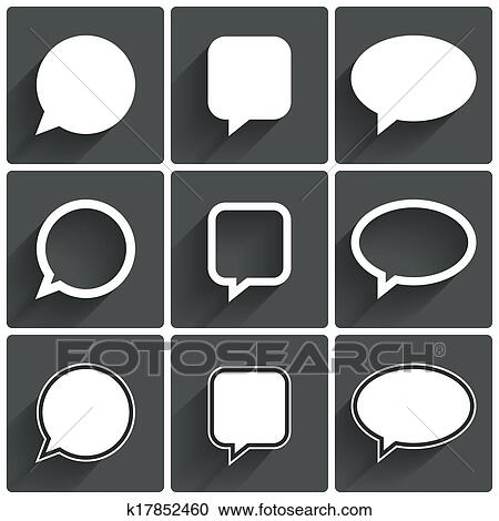 stock illustrations of speech bubble icons think cloud symbols