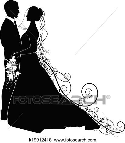 clip art of wedding couple k19912418 search clipart illustration rh fotosearch com wedding couple clipart free wedding couple clipart vector
