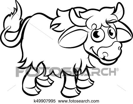Clipart Of Yak Cartoon Character K49907995