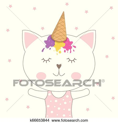 Beautiful Adorable Cat In A Ice Cream Cap On A Pink Background Clipart K66653844 Fotosearch