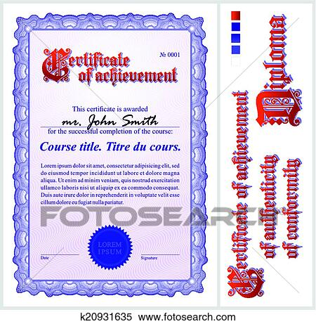 Clipart Of Blue Certificate Template Vertical K20931635 Search