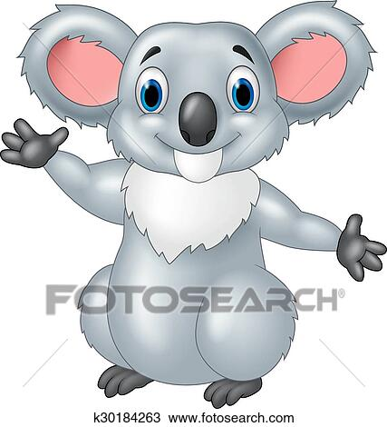 Felice cartone animato koala ondeggiare mano clipart