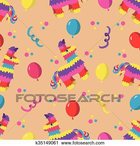 Festa Compleanno Seamless Modello Con Colorito Pinata