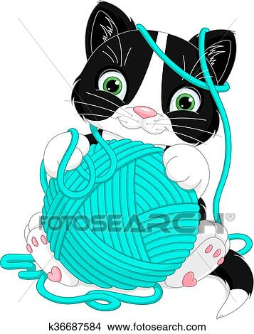 clipart of kitten with yarn ball k36687584 search clip art