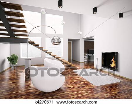 Moderne, intérieur, à, cheminée, et, escalier, 3d Clipart   k4270571 ...