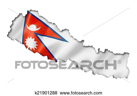 Nepalese flag map Stock Illustration | k21901288 | Fotosearch