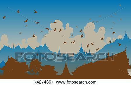 Clipart - oriental, oiseau, ville k4274367 - Recherchez des Cliparts ...