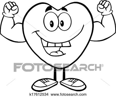 Outlined Heart Showing Muscle Arms Clipart