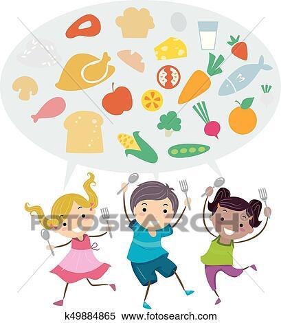 Clipart Of Stickman Kids Healthy Food Spoon Fork Illustration