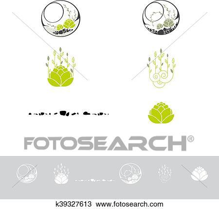 Clipart - verde, terrario, con, plantas, logotipo, diseño, conjunto ...