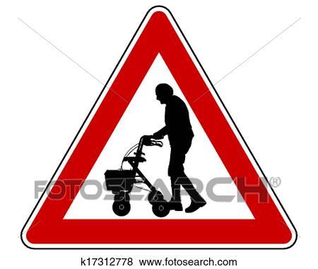 Clip Art Achtung ältere Leute K17312778 Suche Clipart Poster