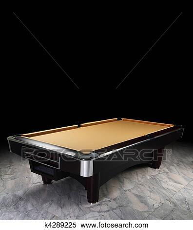 A Luxury Pool Table On The Spot Light. Granite Floor, Tan Felt.