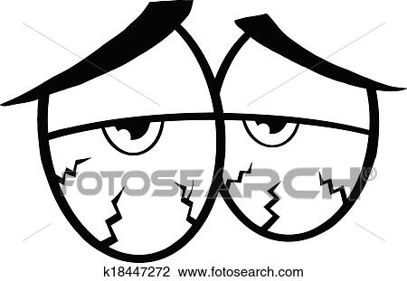 Black And White Sick Cartoon Eyes Clipart K18447272 Fotosearch