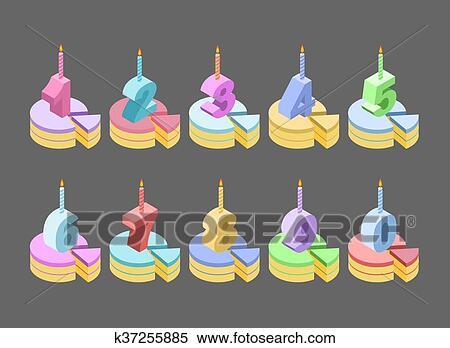 Clipart Candele Torta Compleanno Numero Isometrics Pezzo Di
