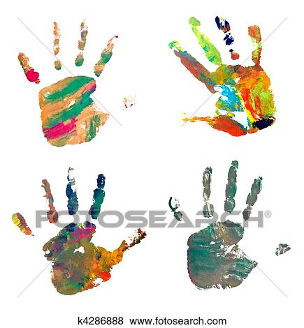 pictures of hand print color art craft trace paint k4286888 search