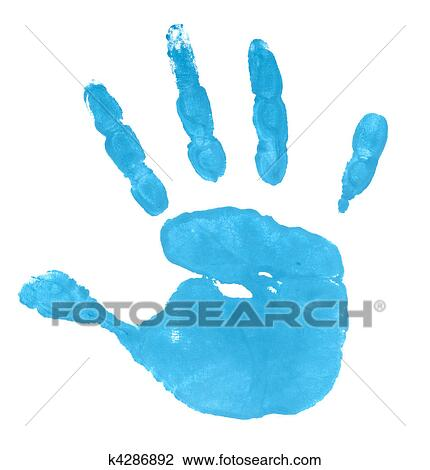 stock photo of hand print color art craft trace paint k4286892