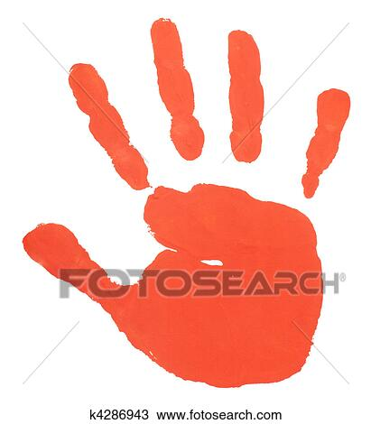 stock photo of hand print color art craft trace paint k4286943