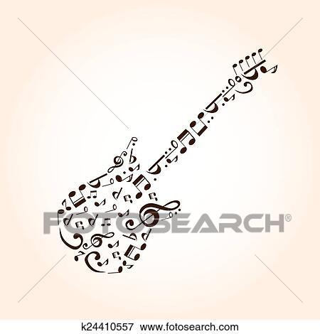 Musica Guitarra Conceito Feito Com Musical Simbolos Para