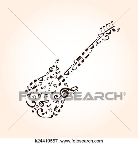 Music guitar concept made with musical symbols for poster design Clip Art