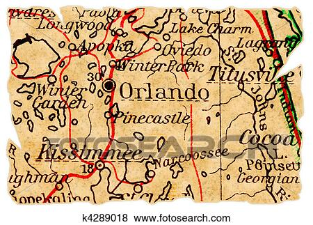 Orlando old map Stock Illustration   k4289018   Fotosearch on
