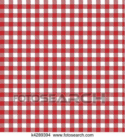 Red Vector Checkered Picnic Tablecloth. Good As Background Or Backdrop.