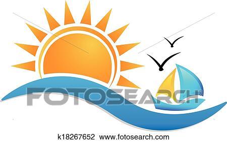 Schiff, sonne, und, meer, symbol, logo Clipart | k18267652 ...