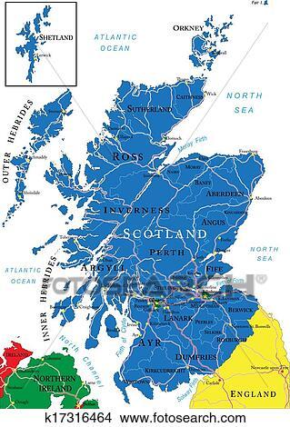Scotland Map Clipart K17316464 Fotosearch