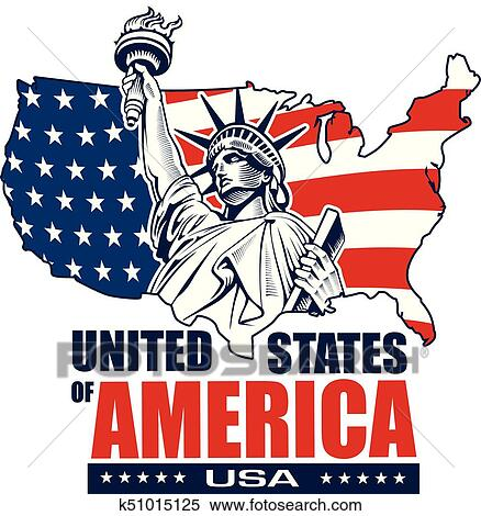 New York On Usa Map.Clipart Of Statue Of Liberty New York City Usa Map And Flag