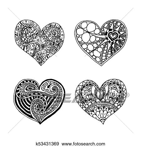 Heart Mandala Coloring Pages 6 - Zentangle Heart Coloring Page ... | 470x450