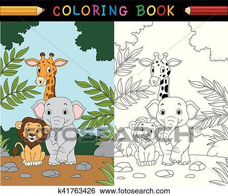 Cartoon safari animal coloring book Clip Art