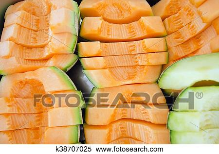 Stock Image Of Cucumis Melo Or Melon Series In Steel Tray Other
