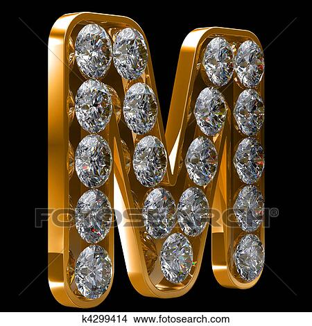 Stock Photo Of Golden M Letter Incrusted With Diamonds K4299414