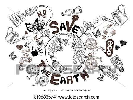 Clipart Of Green World Drawing Concept K19583574 Search Clip Art