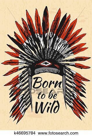 Clipart Indigene Americains Plume Coiffure K46695784