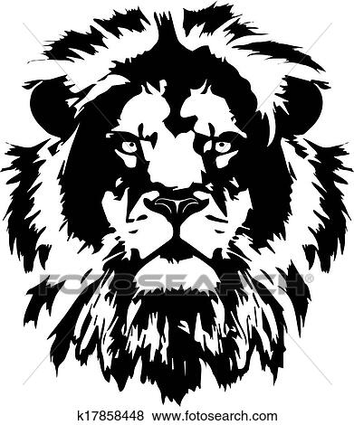Clip art lion head black tattoo fotosearch search clipart illustration posters
