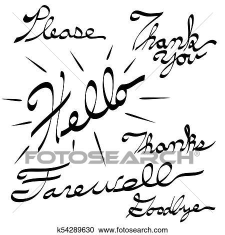 Please Thank You Hello Farewell Goodbye Calligraphy Clipart