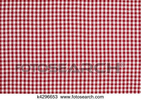 Red And White Gingham Checkered Tablecloth Background Stock Image