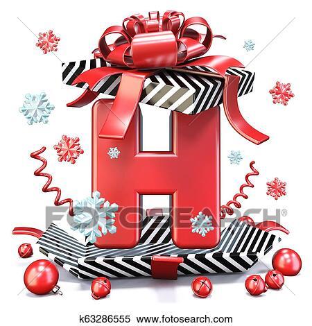 6940d42271e73 Red Letter H inside open gift box 3D rendering illustration isolated on  white background