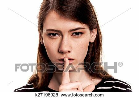 pictures of shhhhh woman finger on lips silent silence stock ima