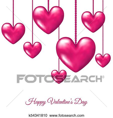 Valentines Day Greeting Card With Hanging Pink Realistic 3d