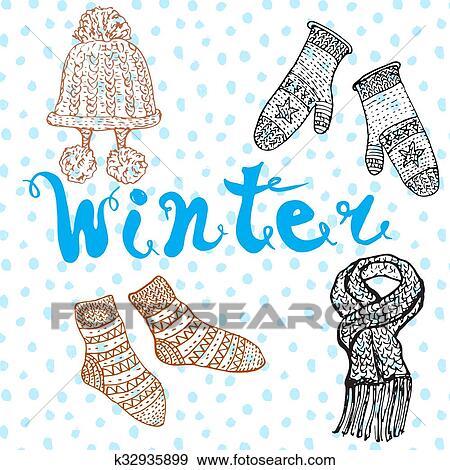 Winter Season Set Doodles Elements Hand Drawn Set With Warm