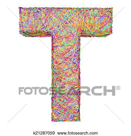 Colección de ilustraciones - alfabeto, símbolo, carta, t, compuesto ...