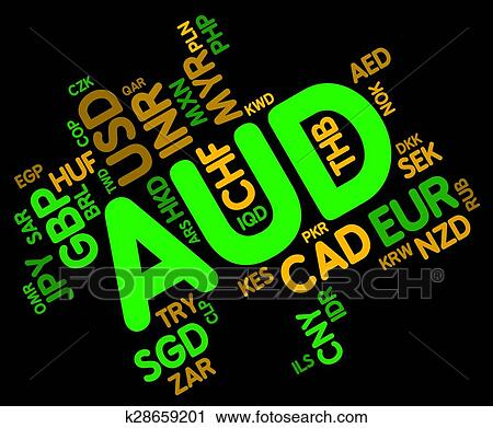 Clipart Of Aud Currency Means Exchange Rate And Coin K28659201